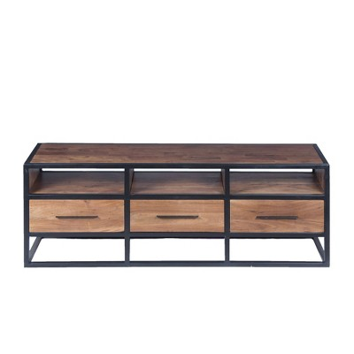 Wooden TV Unit with Metal Frame Brown/Black - The Urban Port