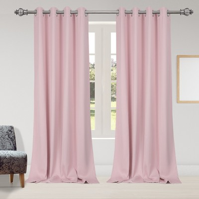 2 Pcs 52 x 95 Inch Solid Blockout Thermal Insulated Grommet Curtain Panels Pink - PiccoCasa