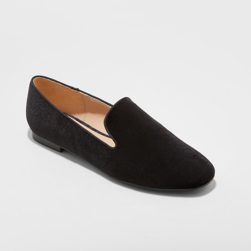 Women's Trinity Velvet Smoking Loafers - A New Day Black 10