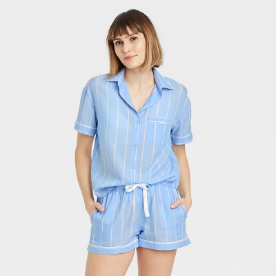 Women's Striped Simply Cool Short Sleeve Button-Up Shirt - Stars Above™ Blue