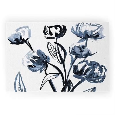 Alison Janssen Peonies Blue Looped Vinyl Welcome Mat - Society6