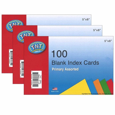 "3pk 100 per pack 5"" x 8"" Blank Index Cards Primary Colors - Top Notch Teacher Products - image 1 of 1"