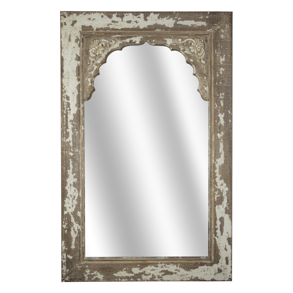 Distressed Wooden Wall Mirror Brown - E2 Concepts