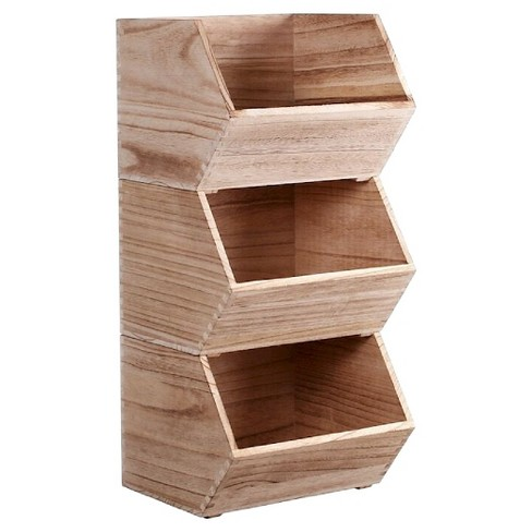 Small Stackable Wood Toy Storage Bin Pillowfort