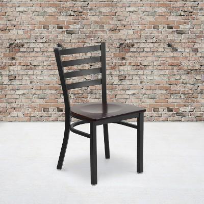 Flash Furniture Black Ladder Back Metal Restaurant Chair