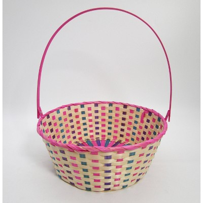 "15"" Bamboo Easter Basket Warm Colorway Pink and Purple Mix - Spritz™"