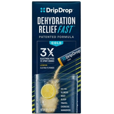 DripDrop ORS Electrolyte Powder for Fast Dehydration Relief - Lemon - 8ct