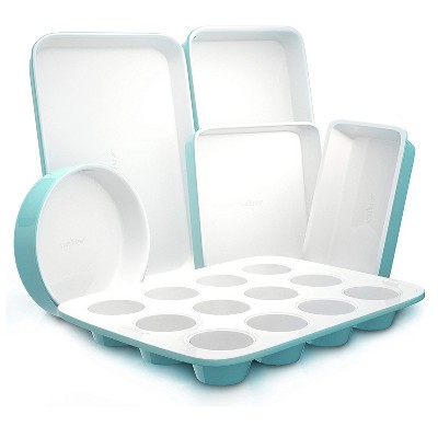 NutriChef 6 Piece Non Stick Kitchen Oven Stackable Ceramic Baking Pan Set with Cookie Sheet, Muffin Tray, and More, Green and White