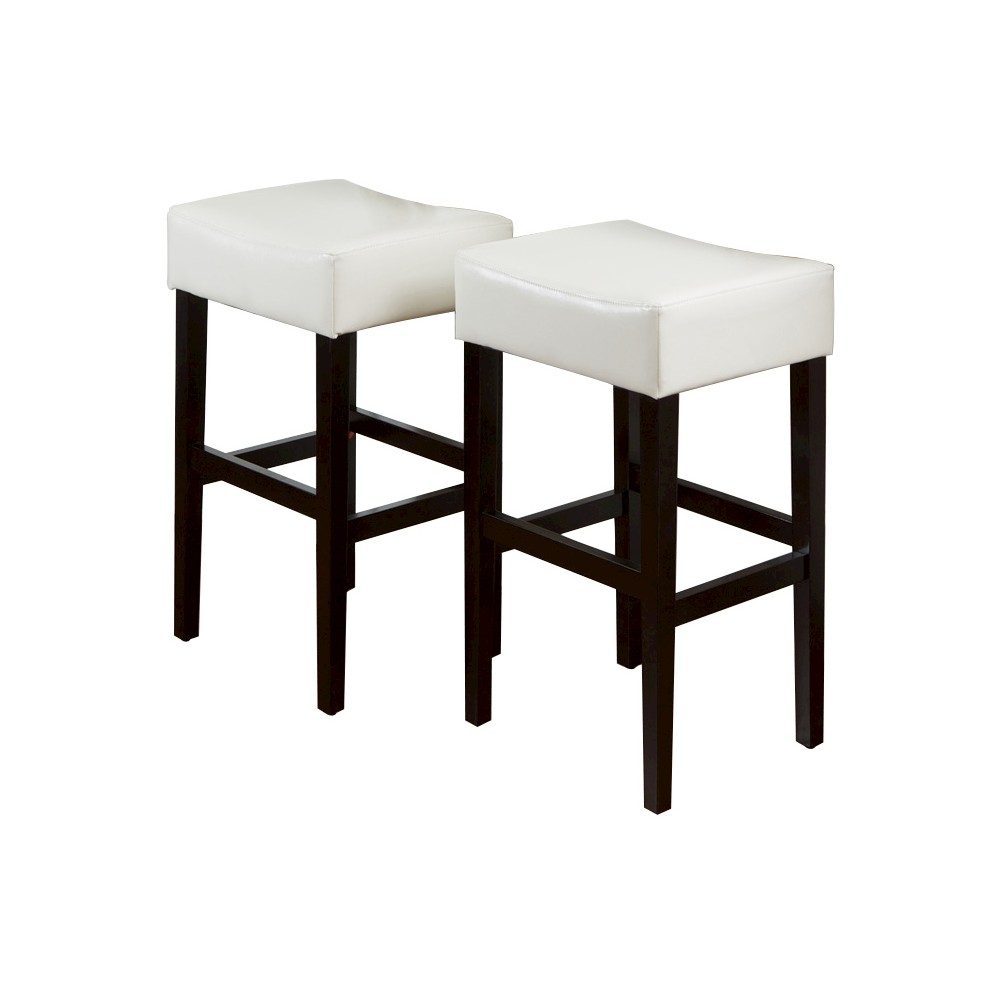 30.5 Lopez Leather Backless Bar Stool - Ivory (Set of 2) - Christopher Knight Home