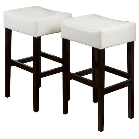 Superb 30 5 Lopez Leather Backless Bar Stool Ivory Set Of 2 Christopher Knight Home Inzonedesignstudio Interior Chair Design Inzonedesignstudiocom