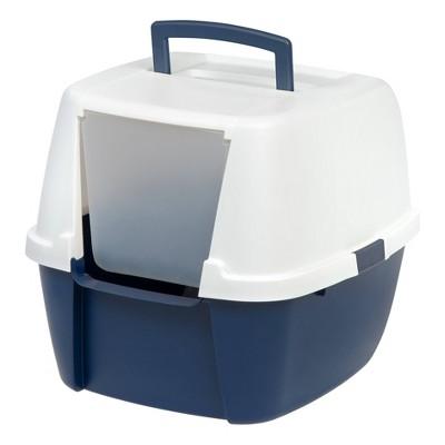 IRIS Jumbo Hooded Litter Box For Cats - Navy