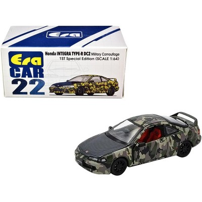 """Honda Integra Type-R DC2 Military Camouflage with Carbon Hood """"Special Edition"""" 1/64 Diecast Model Car by Era Car"""