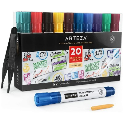 Arteza Glassboard Markers, Assorted Classic Colors - Set of 20