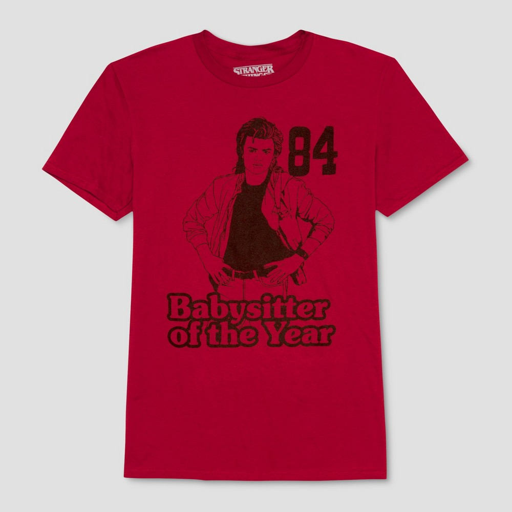Men's Stranger Things Babysitter of the Year Short Sleeve T-Shirt - Midnight Cherry 2XL, Red