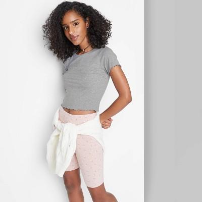 Women's Short Sleeve Lettuce Edge Baby T-Shirt - Wild Fable™