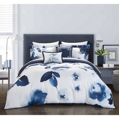 Queen 9pc Central Garden Bed In A Bag Comforter Set Blue - Chic Home Design