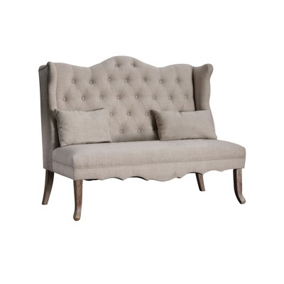 Avah Wing Tipped Tufted Loveseat Almond Cream - ioHOMES