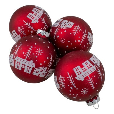 Northlight Set of 4 Red Matte Glass Ball Hanging Christmas Decorations 3.2 Inch (80mm)