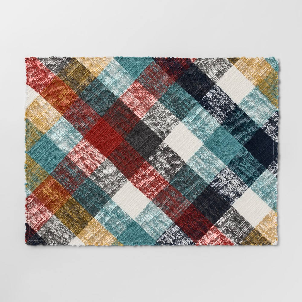 """Image of """"19""""""""x14"""""""" Plaid Woven Placemat - Threshold"""""""