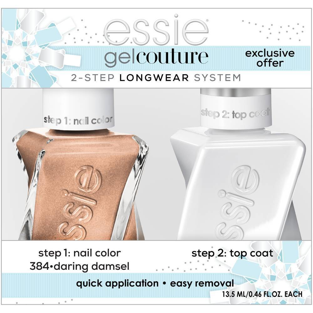 Image of essie Gel Couture 2-Step Longwear System Holiday Set Daring Damsel - 0.92 fl oz