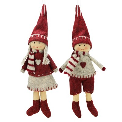 """Northlight 2ct Boy and Girl Christmas Ornament Set 5.5"""" - Gray/Red"""