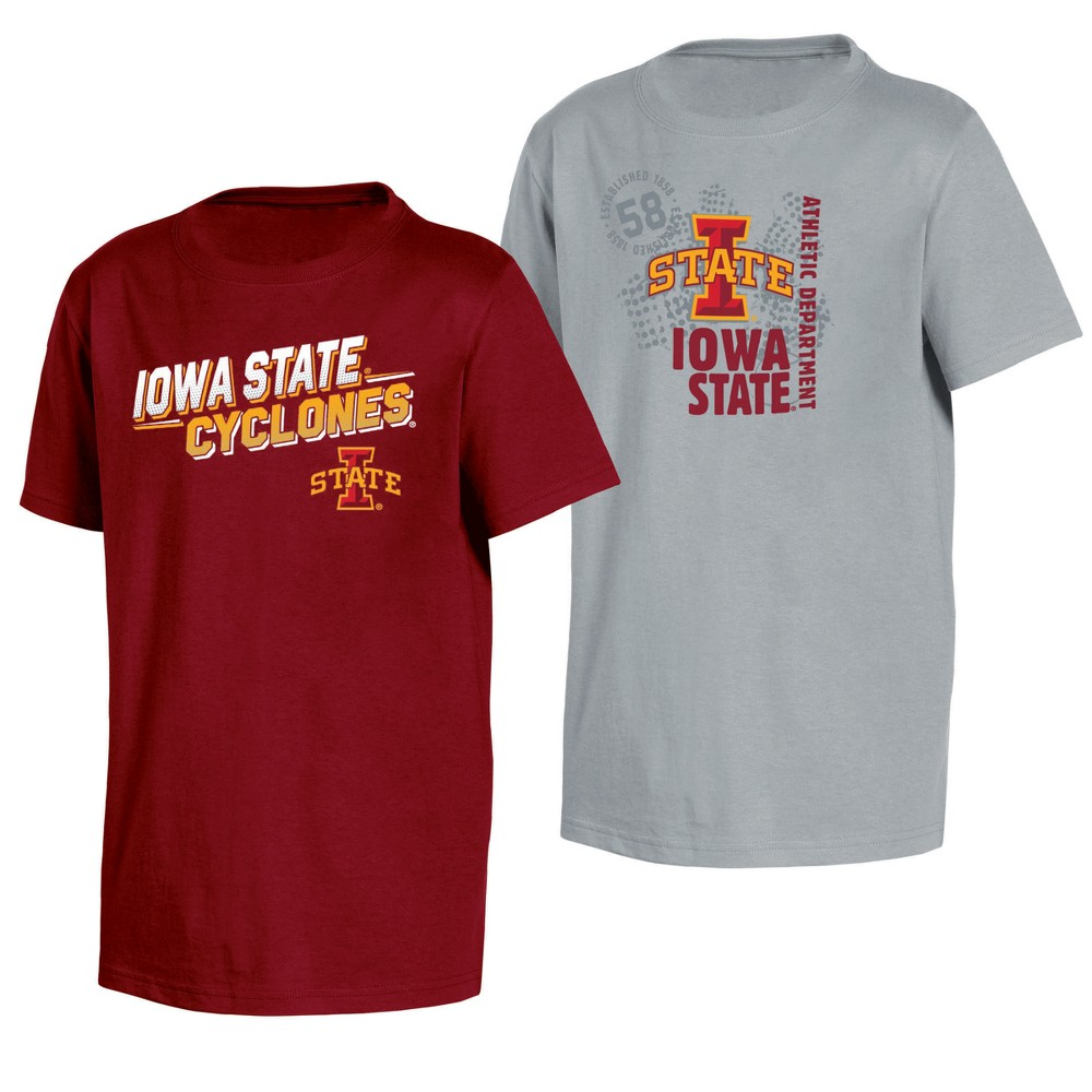 Iowa State Cyclones Double Trouble Toddler Short Sleeve 2pk T-Shirts 3T, Toddler Boy's, Multicolored