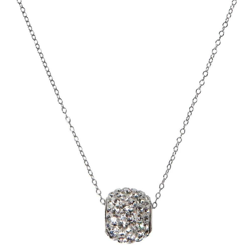 Sterling Silver White Crystal Spinner Pendant