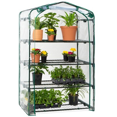 Best Choice Products 40in Wide 4-Tier Mini Greenhouse, Portable Indoor Outdoor Arboretum for Yard w/ Steel Shelves