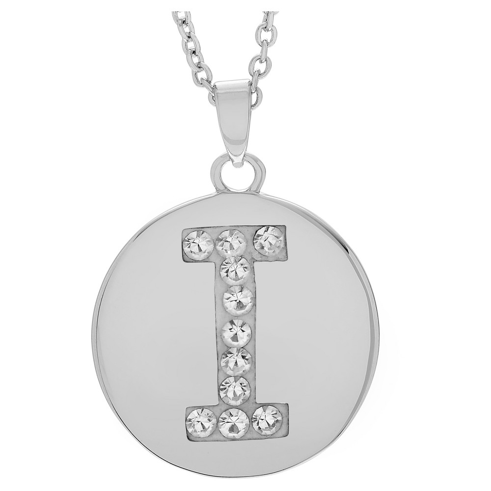 Women's Journee Collection Brass Circle Initial Pendant Necklace with Cubic Zirconia - Silver, I (17.75), Silver Letter - I