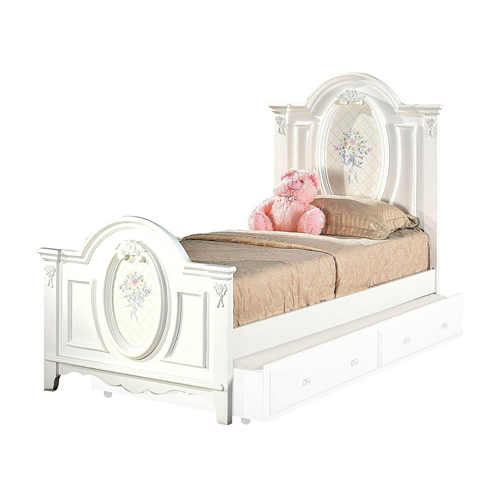 Full Flora Bed with Drawer White - Acme