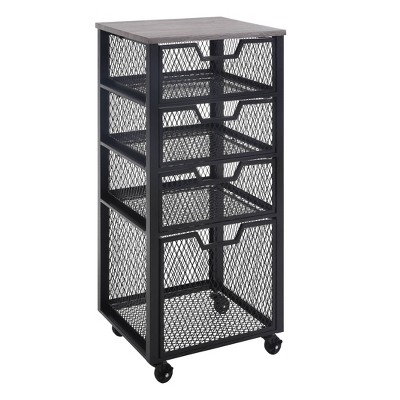 4 Drawer Jarrett Rolling Cart Black - OSP Home Furnishings