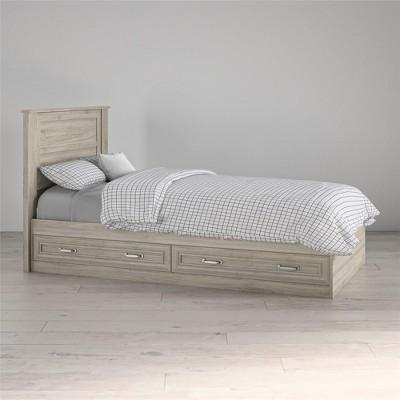 Sierra Ridge Levi Twin Bed with Storage & Twin Headboard, Light Walnut