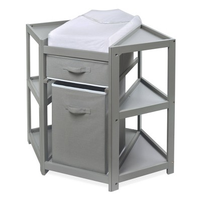 Badger Basket Diaper Corner Baby Changing Table with Hamper and Basket - Gray