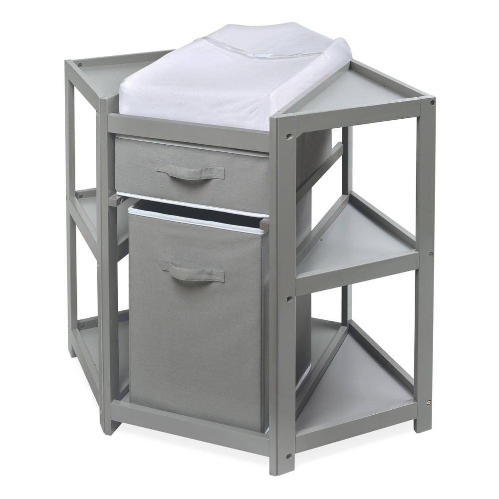 Badger Basket Diaper Corner Baby Changing Table with Hamper and Basket - Gray
