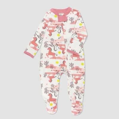 Honest Baby Girls' Organic Cotton Vintage Ponies Sleep N' Play - Pink 3-6M