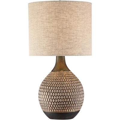 360 Lighting Mid Century Modern Accent Table Lamp Brown Ceramic Drum Shade Living Room Bedroom Bedside Nightstand Office Family