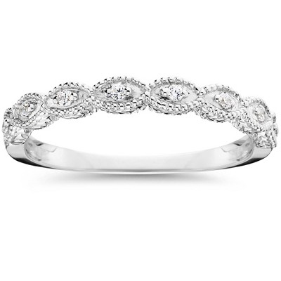 Pompeii3 1/10ct Vintage Diamond Wedding Ring 14K White Gold - Size 10