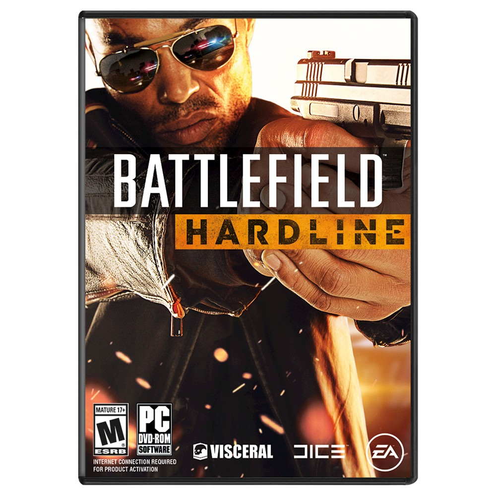 Battlefield: Hardline PC Games Get a piece of the action in Battlefield Hardline, a fresh, new take on Battlefield that allows you to live out your cops and criminal fantasy. Combining an emotionally-driven single player story inspired by popular TV crime dramas, and an all-out-war multiplayer on the streets of Los Angeles and Miami, Hardline delivers the most complete Fps on the market. Key Features: Cops and Criminals Meet in a World Full of Crime —Lead your crew as detective Nick Mendoza in an episodic crime drama single player Campaign or as cops and criminals in intense high-speed Battlefield multiplayer. You're on one side of the law or the other -time to hit the streets. Seize and Detain—More money, more problems. Take control using new tactics to gather intel, obtain warrants and takedown with non-lethal force tomake his arrests. Secure the cash in a thrilling new battlefield playground. The Fastest Battlefield Ever—Fulfill your need for speed in thrilling new action packed modes that make for intense and fluid gameplay. Hop in new powerful muscle cars, sleek bikes or even give your whole crew a lift in transport or armored trucks. New Gadgets, New Strategies—New maps and gadgets change the way you play. Use grappling hooks and ziplinesto scale city buildings and zip across the city with the cash. No matter the strategy, teamwork will be essential to running the turf war.