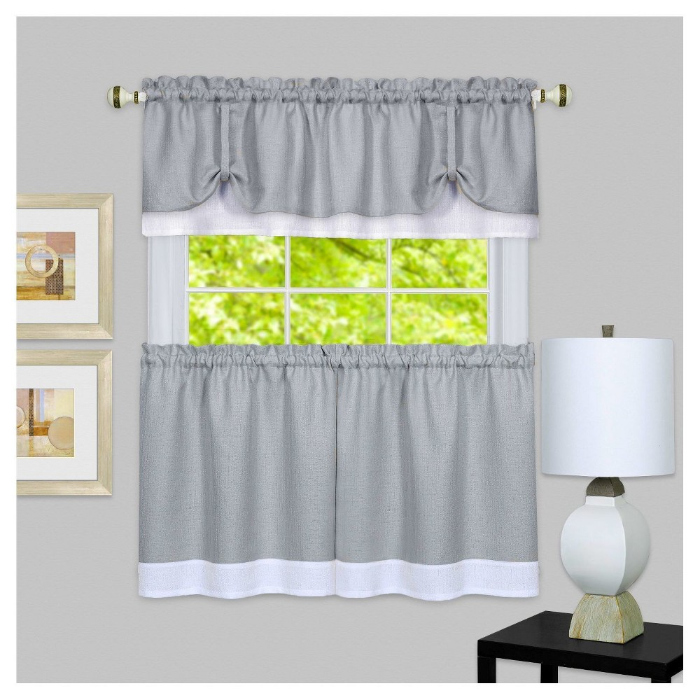 "Image of 58""x24"" Darcy Window Curtain Tier and Valance Set Gray/White - Achim"