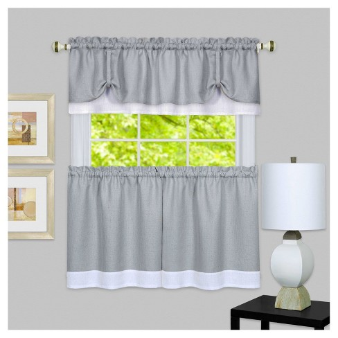 "58""x24"" Darcy Window Curtain Tier and Valance Set Gray/White - Achim - image 1 of 1"