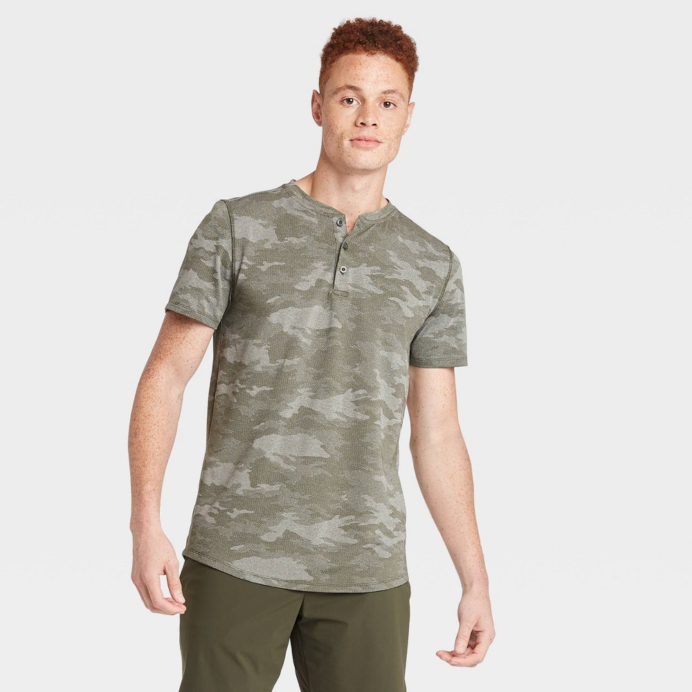 Men's Camo Print Short Sleeve Henley T-Shirt - All in Motion Olive Green Camo S, Men's, Size: Small, Green Green Green was $22.0 now $15.4 (30.0% off)