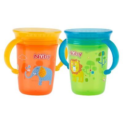 Nuby 2pk 8oz 2 Handle Printed Wonder Cup - Neutral
