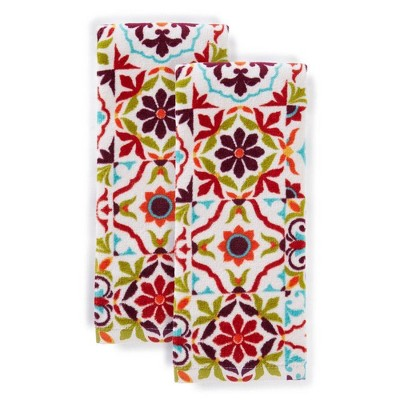 "2pk 16""X28"" Worn Tiles Kitchen Towels - Fiesta"