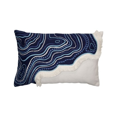 Blue and White Hand Woven 14 x 22 inch Decorative Cotton Throw Pillow Cover With Insert and Hand Tied Fringe - Foreside Home & Garden