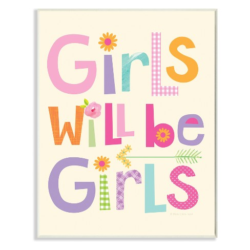 "Girls Will Be Girls Multi - Color with Arrow Wall Plaque Art (12.5""x18.5""x0.5"") - Stupell Industries - image 1 of 1"
