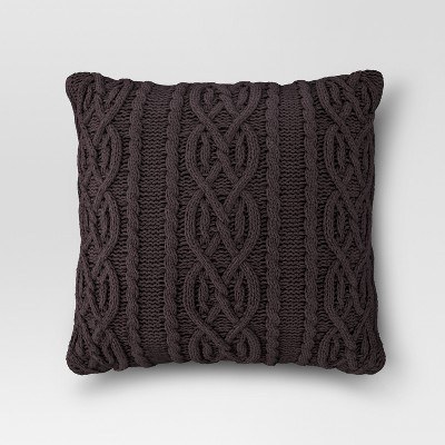 Cable Knit Oversized Throw Pillow Brown - Threshold™