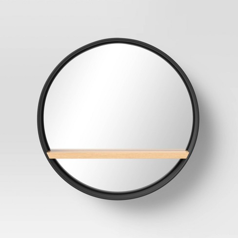 22 5 Round Metal Wall Mirror With, Round Mirror With A Shelf