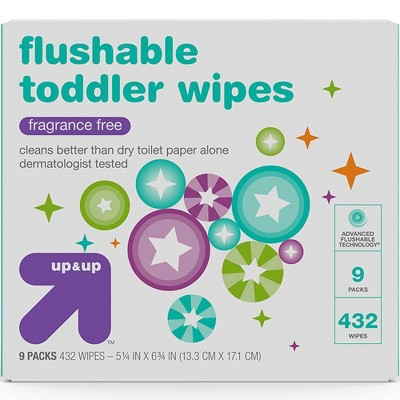 Toddler and Family Flushable Unscented Wipes - 432ct - Up&Up™