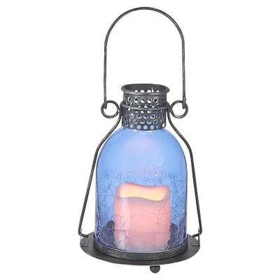 "Smart Living 11"" Monaco Glass LED Candle Outdoor Lantern - Blue"