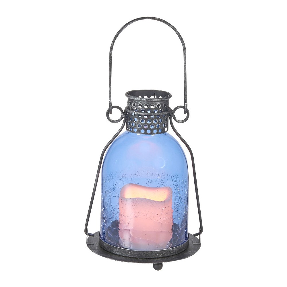 "Image of ""Smart Living 11"""" Monaco Glass LED Candle Outdoor Lantern - Blue"""